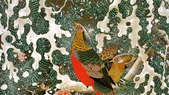 動植綵絵,雪中錦鶏図